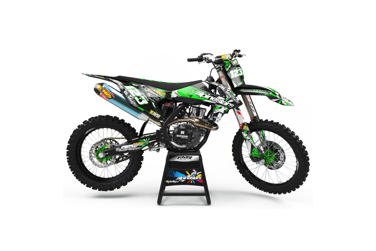 Graphics Kit ALPINESTARS GREEN : Design designed for your Motocross
