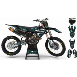 "Custom dirt bike Graphics kit ""ALPINESTARS ADN"" A28CY cyan 
