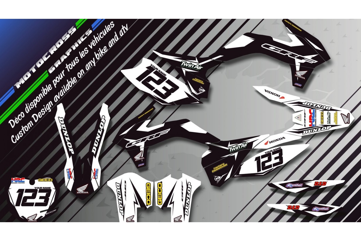 """Factory Black Edition CA10AB"" Graphic kit HONDA CRF 150R 