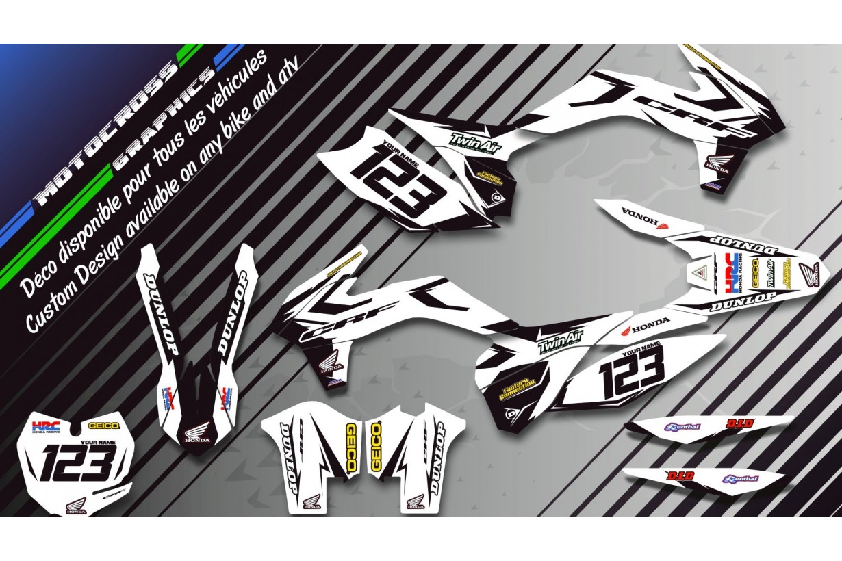 """Factory White Edition CA10AW"" Graphic kit HONDA CRF 450X 